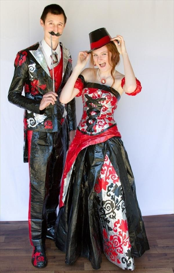 Red and Black Duct Tape Dress