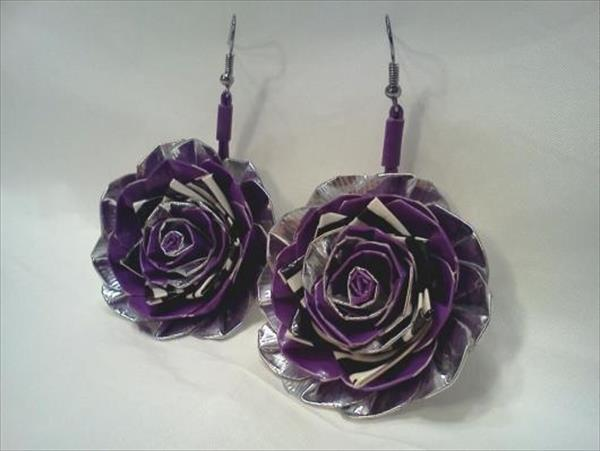 duct tape flower earrings
