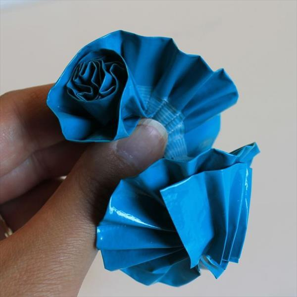 Blue Color Duct Tape Flowers