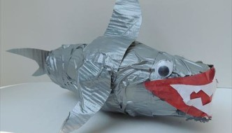 Kids Craft Tutorial: Duct Tape Paper Cup Shark
