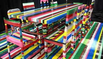 handmade duct tape chair and table