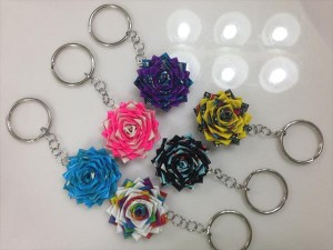 homemade duct tape flower keychain