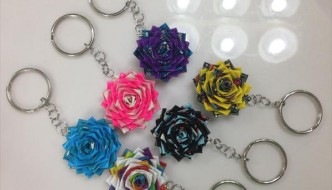 DIY Duct Tape Flower Keychains