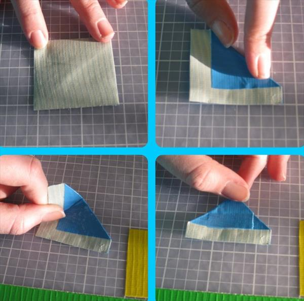 step for making petal for duct tape pen flower