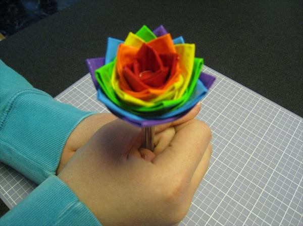 home produced duct tape pen flower