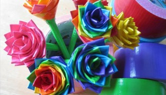 DIY Duct Tape Flower Pens Tutorial