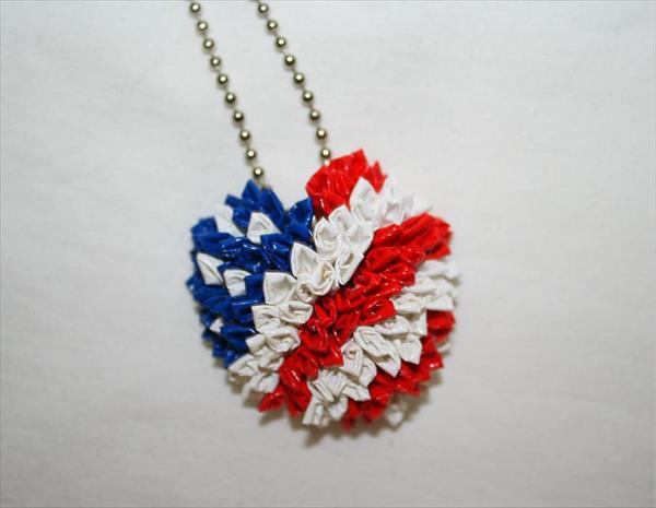homemade duct tape heart necklace