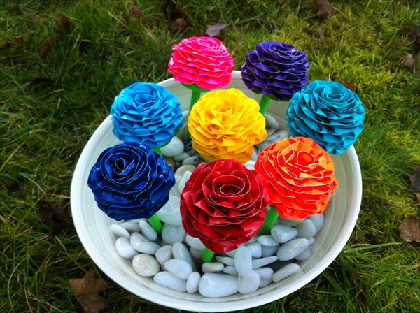 homemade duct tape pen flowers