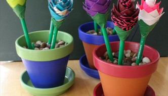 Easy DIY Duct Tape Flower Pens with Pot