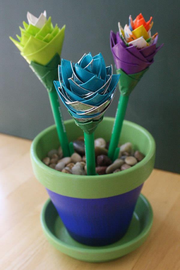 handmade duct tape pen flowers