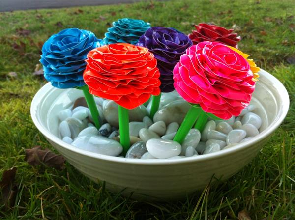 handcrafted duct tape pen flowers