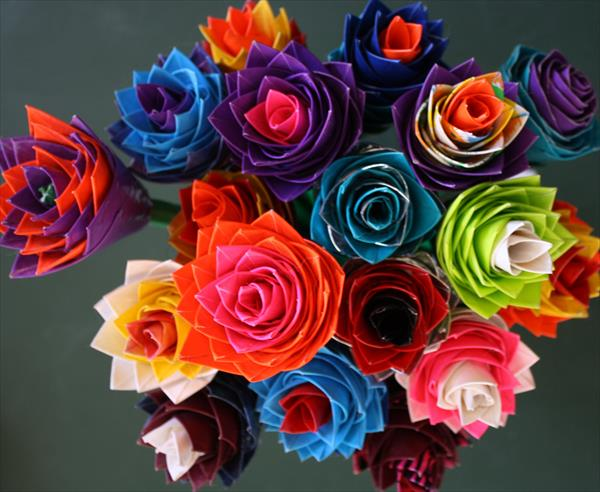 handcrafted duct tape flowers