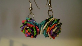 DIY Duct Tape Rose Earrings