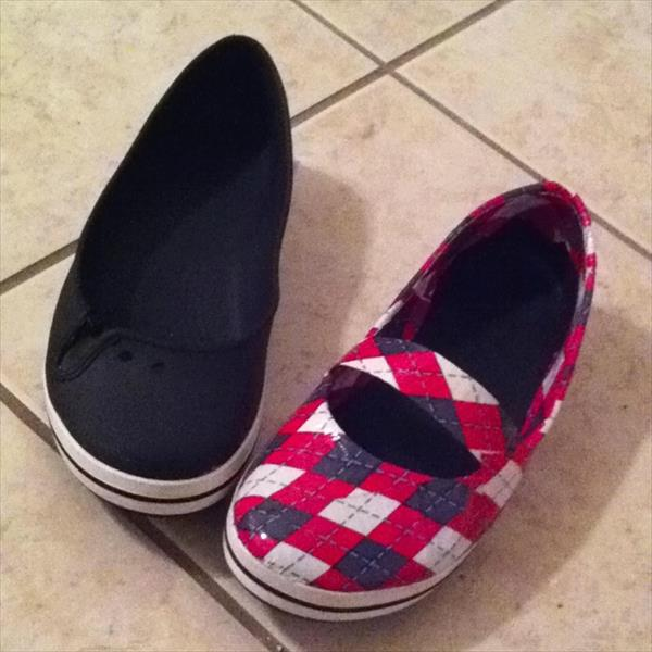 renovated duct tape shoes