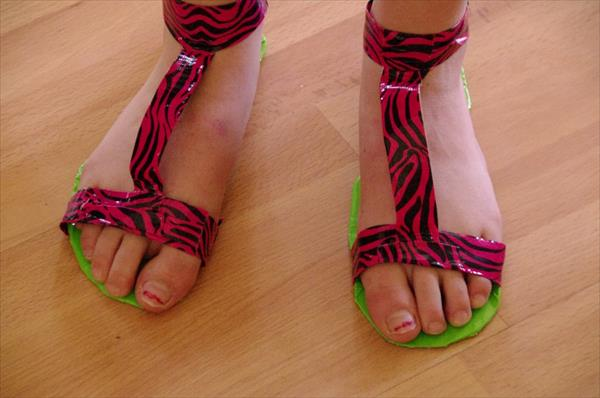 reclaimed duct tape slippers
