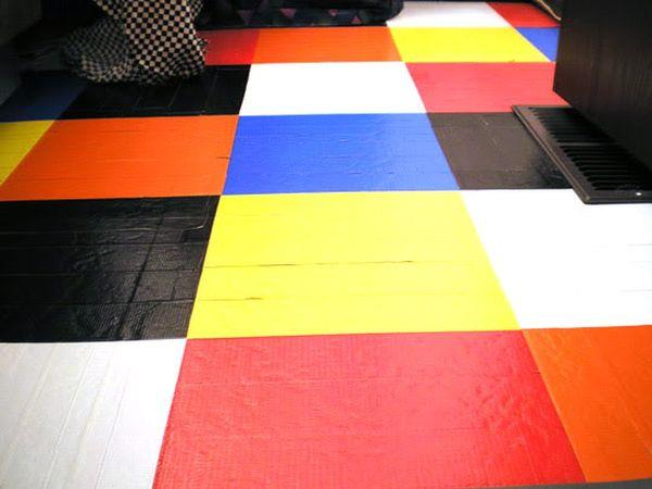 handcrafted duct tape striped flooring