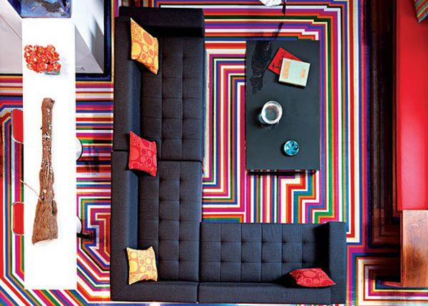 duct tape striped flooring