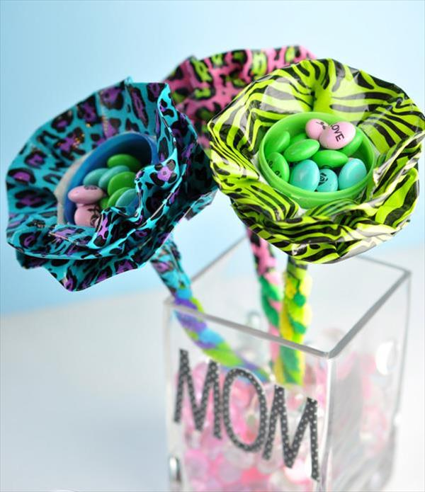 handmade duct tape plastic egg bouquet