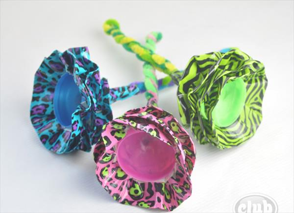 diy duct tape plastic egg flowers