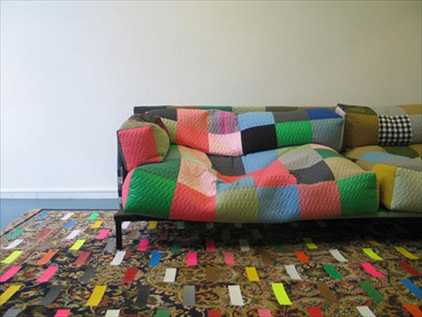 diy duct tape rug and sofa