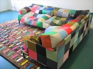 duct tape beanbag sofa and rug