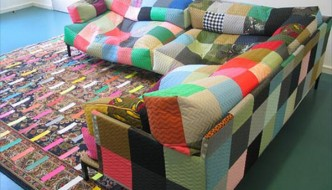 duct tape beanbag sofa and rug