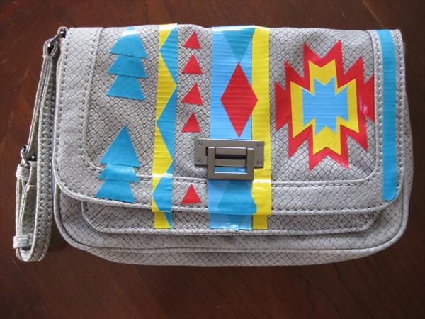 handcrafted duct tape patterned bag