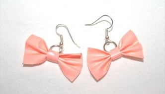 DIY Soft Peach Duct Tape Bow Earrings