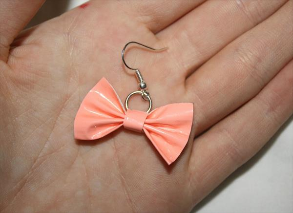 handcrafted duct tape bow earrings