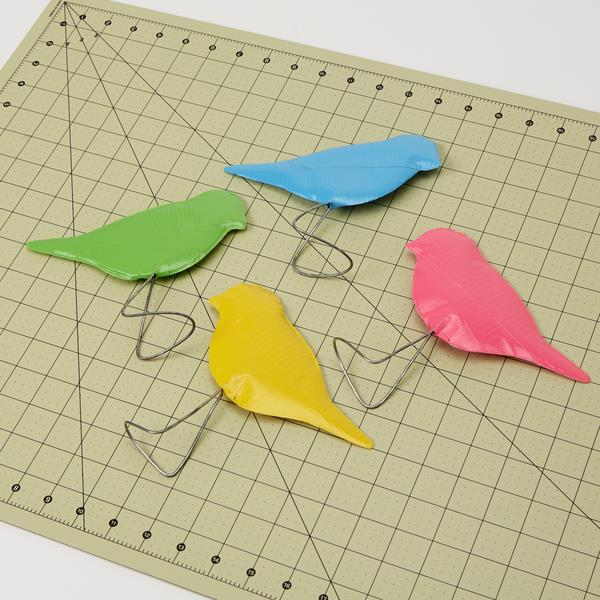 duct tape birds with wire foots