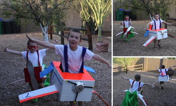 duct tape and cardboard airplane costume