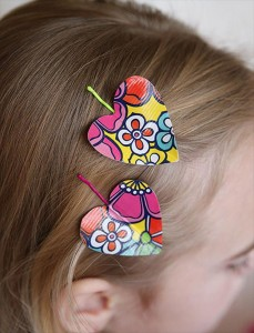diy duct tape heart hairpins