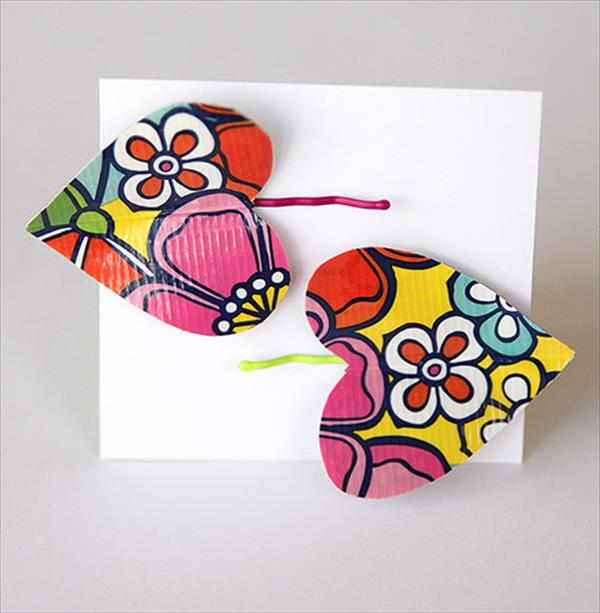 handcrafted duct tape heart hairpins