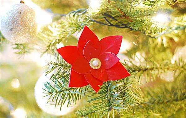handcrafted duct tape poinsettia flower