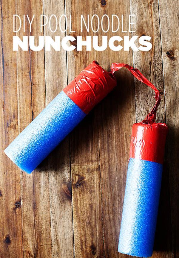 handmade duct tape pool noodle nunchuks
