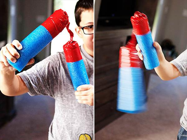 self made duct tape pool noodle nunchuks