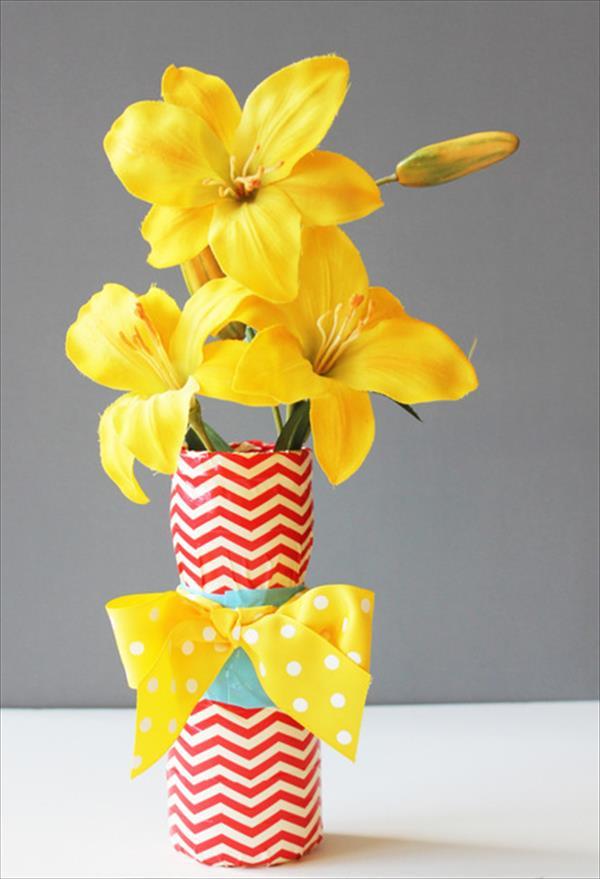 upcycled duct tape vase