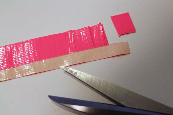 making fringes of duct tape