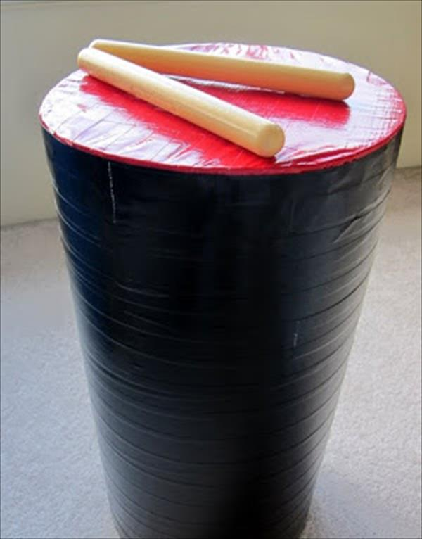 diy handmade duct tape drum
