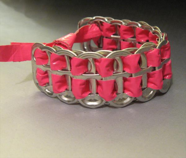 handmade duct tape and soda can tabs bracelet