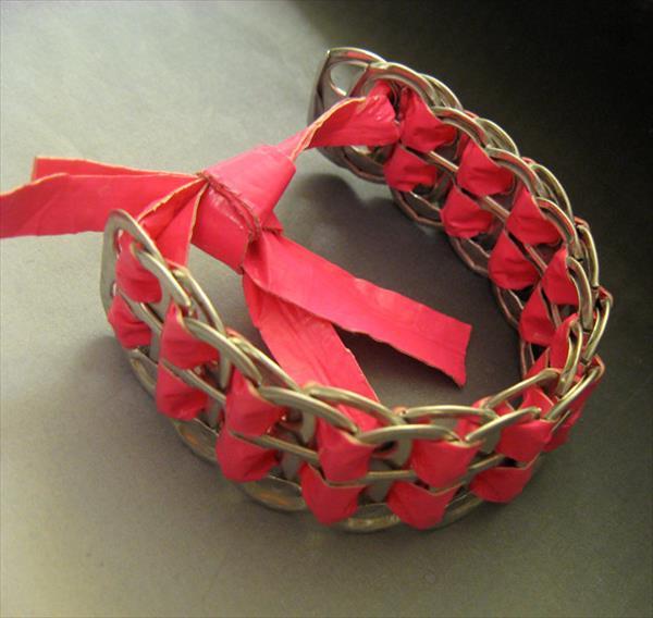 diy duct tape soda can tabs bracelet
