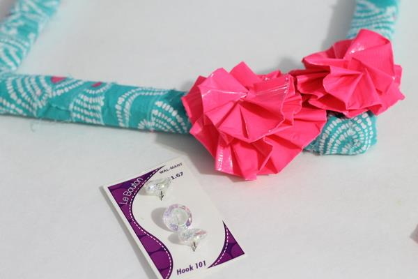 addition of duct tape flower to wreath