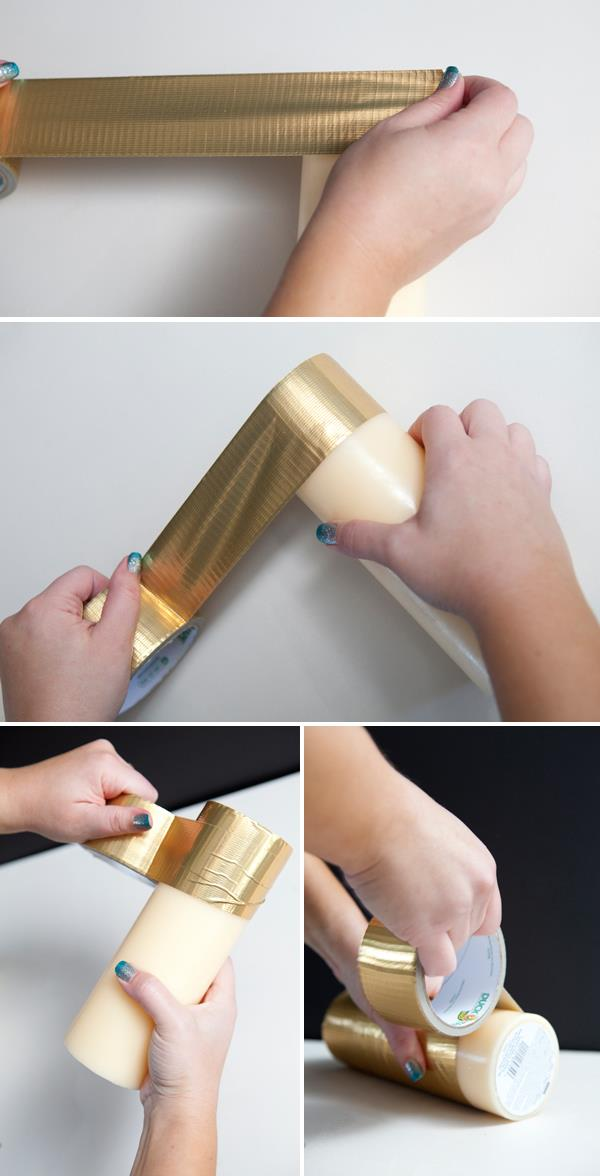 wrapping of golden duct tape around the candle
