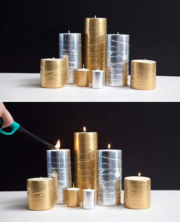 diy metallic duct tape wrapped candle patterns
