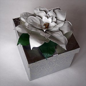Poinsettia gift topper out of duct tape